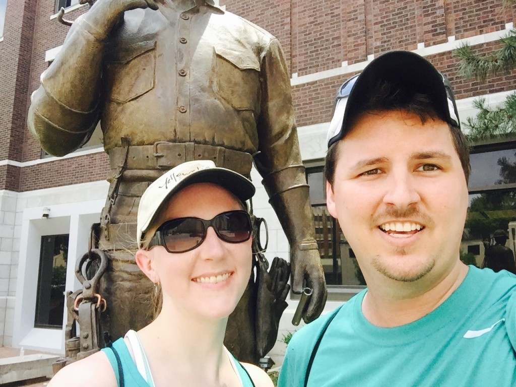 Mid-race, we had to take a quick selfie in front of this statue for part of a challenge.